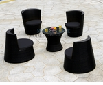 Modern All-in-One Black Rattan Patio Dining Set with Black Cushions