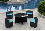 Modern All-in-One Black Rattan Patio Dining Set with Blue Cushions