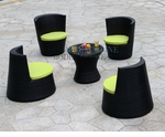 Modern All-in-One Black Rattan Patio Dining Set with Green Cushions