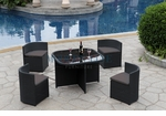 Modern All-in-One Black Rattan Patio Dining Set with Grey Cushions