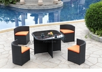 Modern All-in-One Black Rattan Patio Dining Set with Orange Cushions