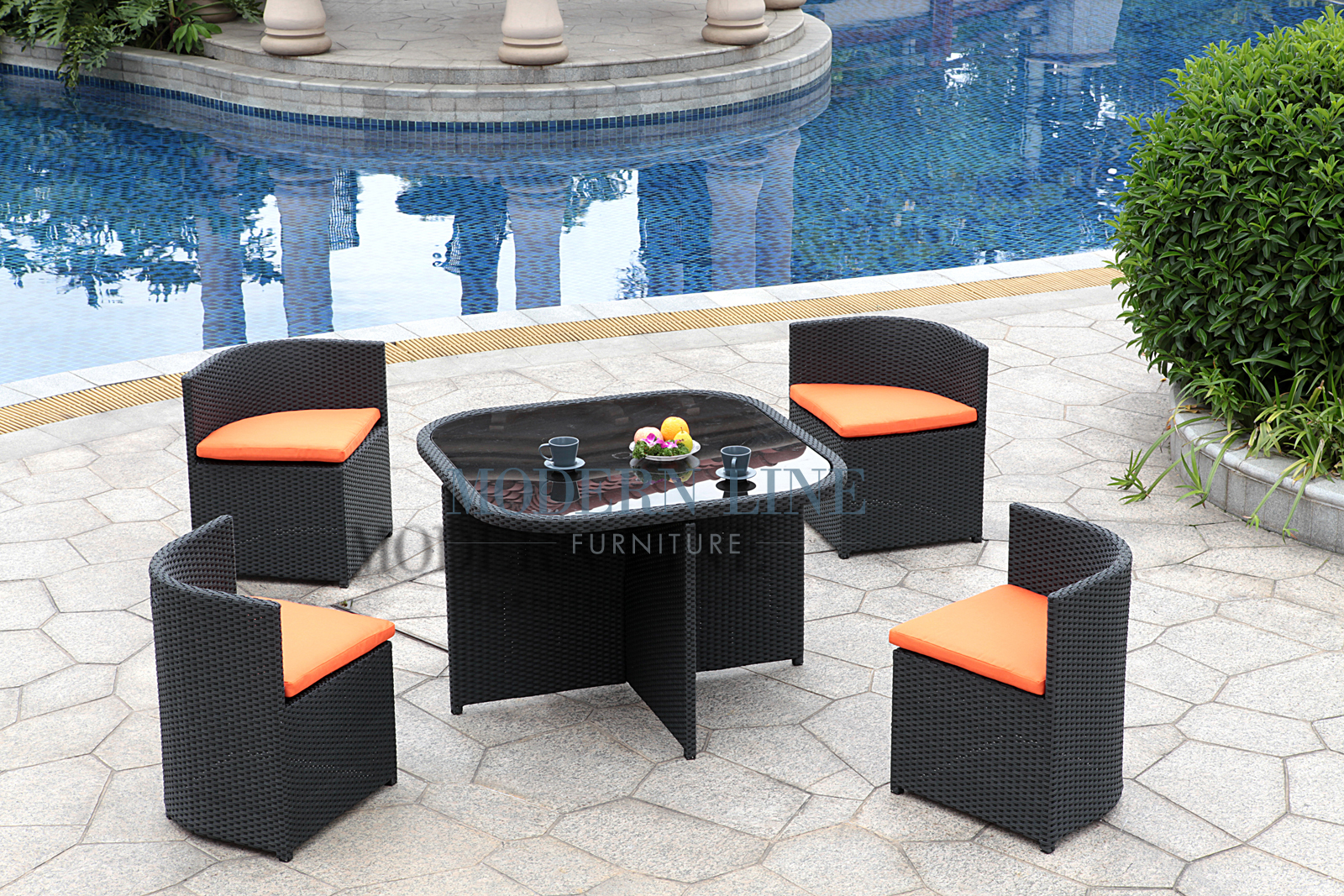 Modern Line Furniture   Commercial Furniture   Custom Made Furniture | Outdoor  Furniture | Outdoor Patio Dining | | Modern All In One Black Rattan Patio  ...