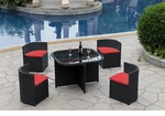 Modern All-in-One Black Rattan Patio Dining Set with Red Cushions