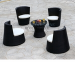 Modern All-in-One Black Rattan Patio Dining Set with White Cushion