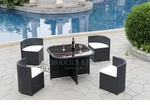 Modern All-in-One Black Rattan Patio Dining Set with White Cushions