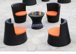 Modern All-in-One Black Rattan Patio Set with Pumpkin Cushions