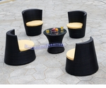 Modern All-in-One Black Rattan Patio Set with Yellow Cushions
