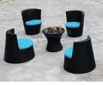Modern All-in-One Patio Black Rattan Dining Set with Blue Cushions