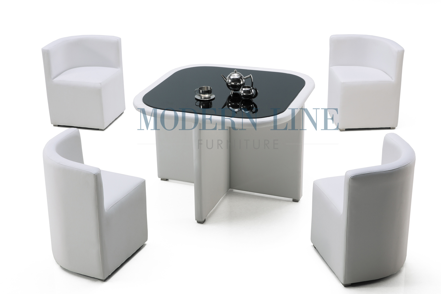 Modern line furniture commercial furniture custom made for White dining table and 4 chairs