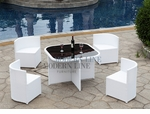 Modern All-in-One White Rattan Patio Dining Set