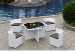 Modern All-in-One White Rattan Patio Dining Set with Grey Cushions