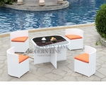 Modern All-in-One White Rattan Patio Dining Set with Orange Cushions