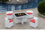 Modern All-in-One White Rattan Patio Dining Set with Red Cushions