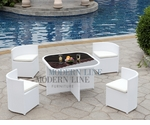 Modern All-in-One White Rattan Patio Dining Set with White Cushions