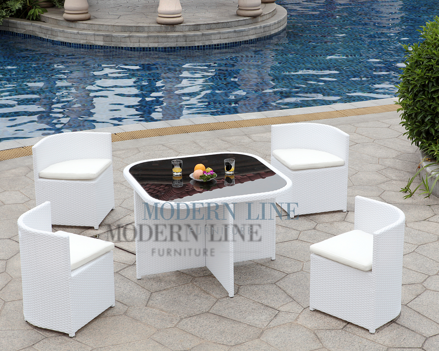 Modern Line Furniture   Commercial Furniture   Custom Made Furniture | Outdoor  Furniture | Outdoor Patio Dining | | Modern All In One White Rattan Patio  ...