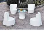 Modern All-in-One White Rattan Patio Set