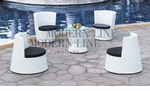 Modern All-in-One White Rattan Patio Set with Black Cushions