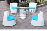Modern All-in-One White Rattan Patio Set with Blue Cushions