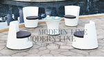 Modern All-in-One White Rattan Patio Set with Gray Cushions