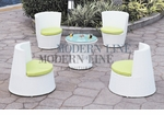 Modern All-in-One White Rattan Patio Set with Green Cushions