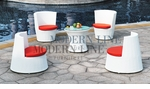 Modern All-in-One White Rattan Patio Set with Orange Cushions