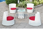 Modern All-in-One White Rattan Patio Set with Red Cushions