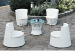 Modern All-in-One White Rattan Patio Set with White Cushions