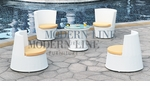 Modern All-in-One White Rattan Patio Set with Yellow Cushions