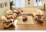 Modern Beige Leather Sectional Sofa with Two Chairs, Coffee Table and Two End Tables Set