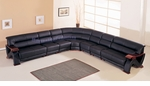 Modern Black Leather Long Sectional Sofa w/Mahogany Arms and Base