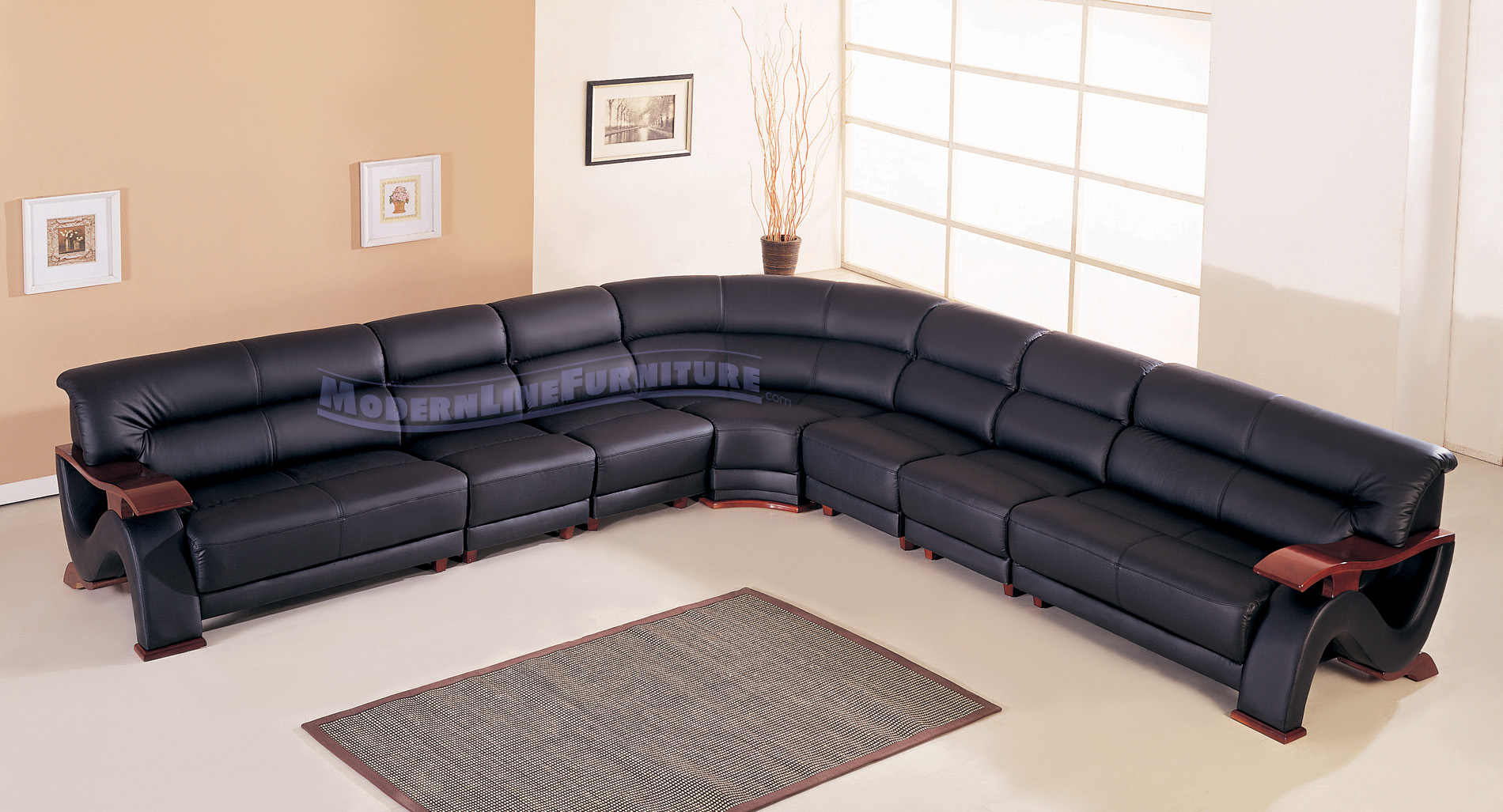 Modern black sofas - Modern Line Furniture Commercial Furniture Custom Made Furniture Modern Black Leather Long Sectional Sofa W Mahogany Arms And Base