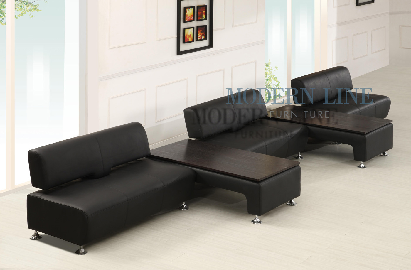 Modern Line Furniture Commercial Furniture Custom Made  : modern black leather long sofa with bench chaises 21 from www.modernlinefurniture.com size 1400 x 920 jpeg 186kB