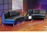 Modern Black Lounge Style 2pc Curved Open Sofa with Free Multi-Functional Table