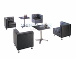 Modern Black Leather Modular Sectional Set of Four Corners with Two Dining Tables