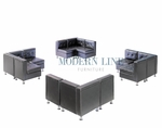 Modern Black Leather Modular Sectional Set of Four Sectional Sofas