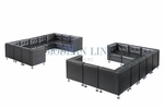 Modern Black Leather Modular Sectional Set of Two Long Sectional Sofas