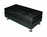 Modern Black Leather Rectangular Ottoman