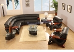 Modern Black Leather Sectional Sofa with Two Chairs, Coffee Table and Two End Tables Set