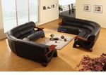 Modern Black Leather Set of Two Mini Sectional Sofa w/Mahogany Arms