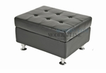 Modern Black Leather Square Ottoman