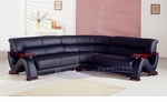 Modern Black Leather w/Mahogany Arms Mini Sectional Sofa