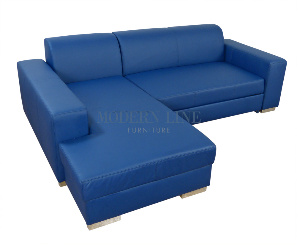Modern Line Furniture - Commercial Furniture - Custom Made Furniture | Modern Blue Leather Sectional Sofa Sleeper With Storage  sc 1 st  Modern Line Furniture : blue leather sectional - Sectionals, Sofas & Couches