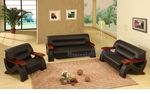 Modern Contemporary Black Leather Living Room Set