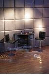 Modern Custom Wall Bar Table with Two Black Bar Stools
