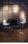 Modern Custom Wall Bar Table with Two White Bar Stools