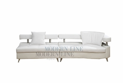 Liquidation! Modern Design White Extended Sofa-Chaise with Pillows