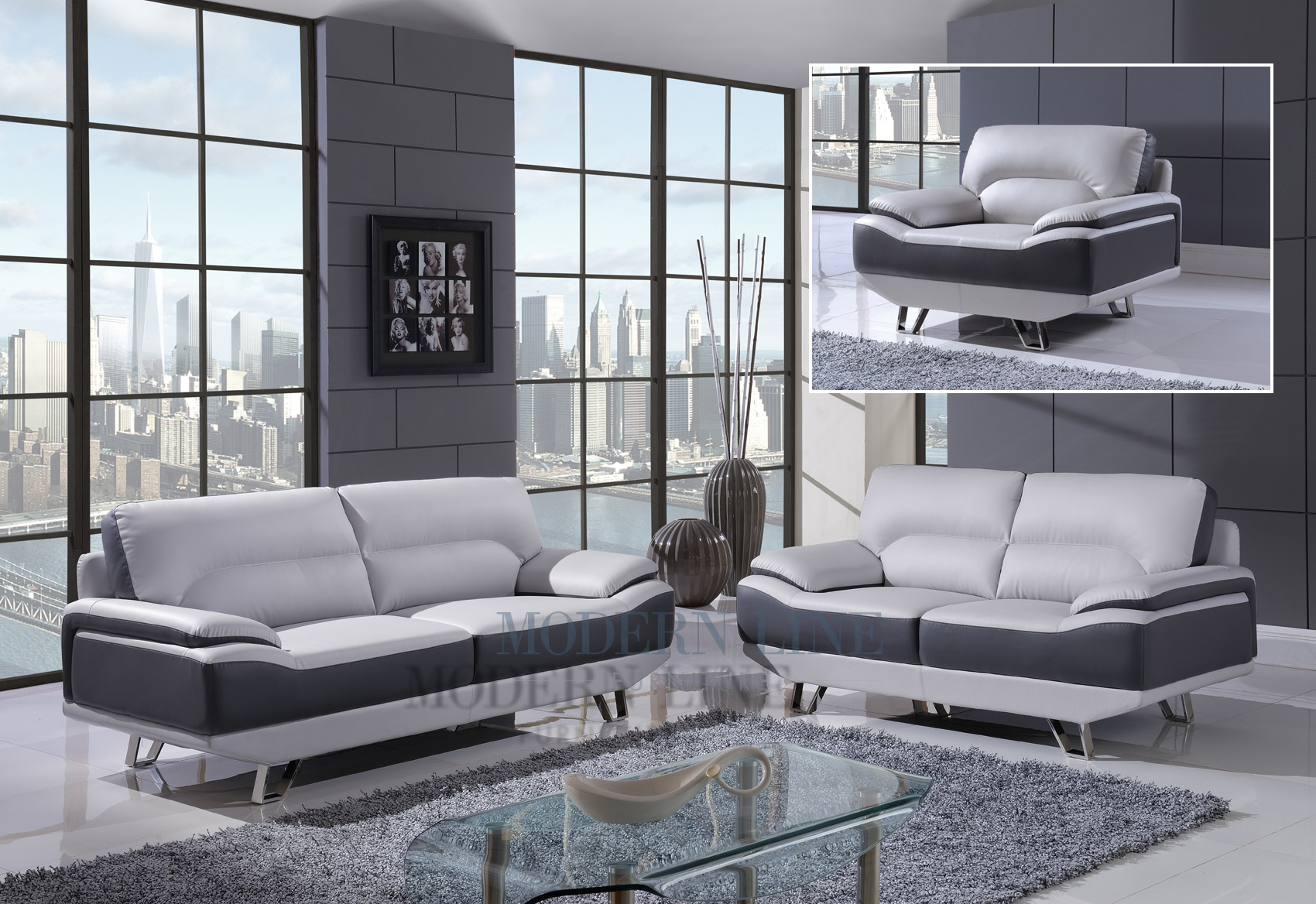 Modern Line Furniture   Commercial Furniture   Custom Made Furniture |  Modern Dual Tone   Light Grey U0026 Dark Grey   Leather Living Room Set; Sofa,  ...
