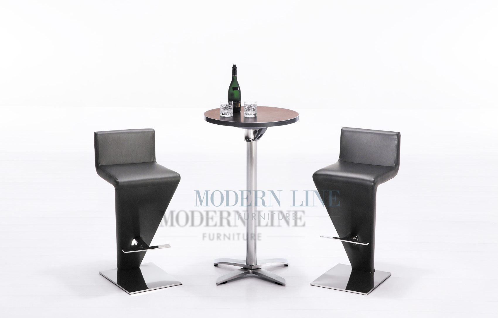 Modern Line Furniture Commercial Furniture Custom Made  : modern foldable round walnut wood top bar table with set of two black bar stools 62 from www.modernlinefurniture.com size 1700 x 1087 jpeg 179kB