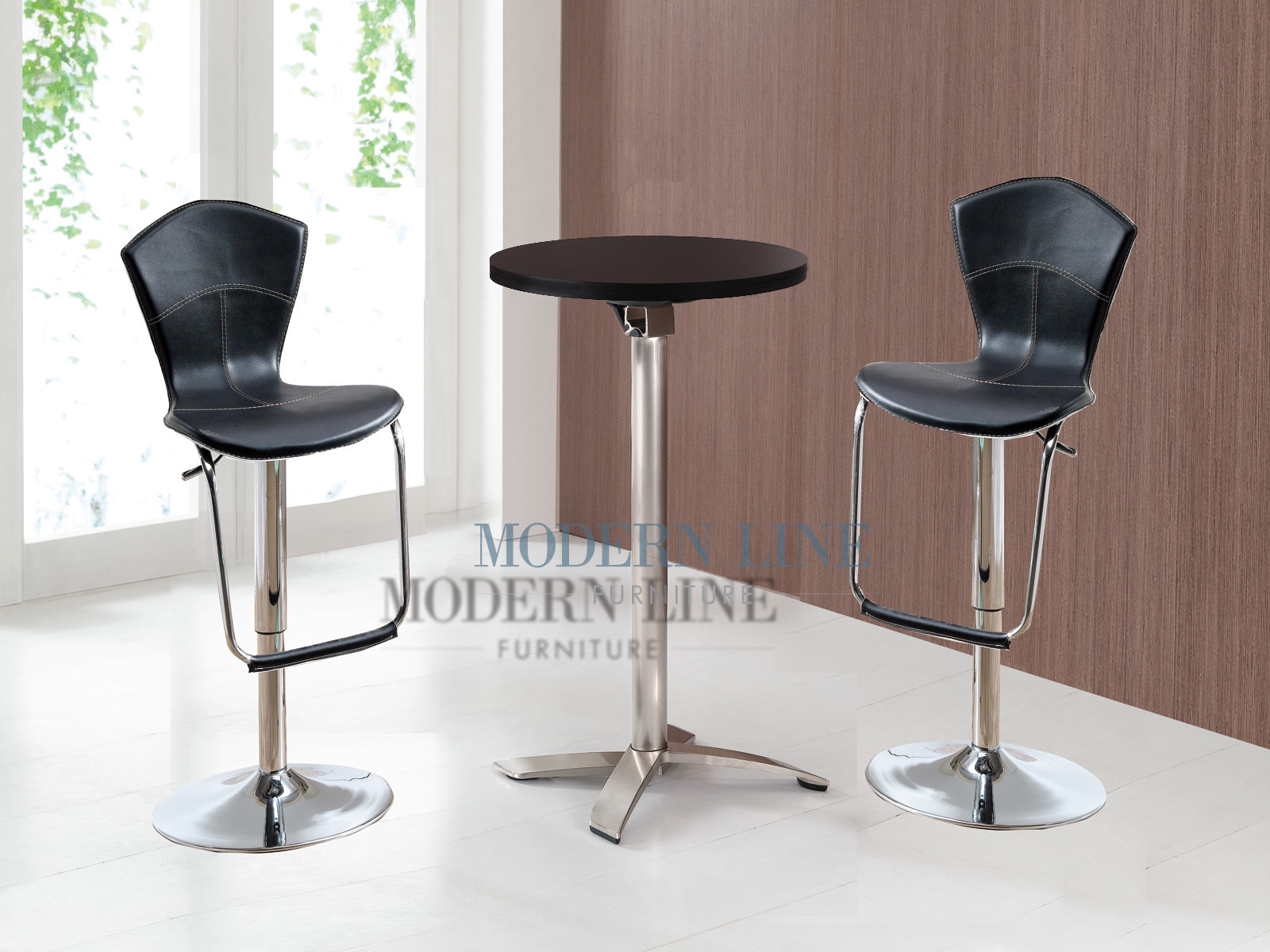 Modern Line Furniture - Commercial Furniture - Custom Made Furniture | Modern Foldable Scratch Resistant Wood Top Bar Table with Set of Two Black Bar Stools & Modern Line Furniture - Commercial Furniture - Custom Made ... islam-shia.org