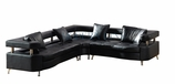 Modern Furniture Black Leather Sectional Sofa with Pillows